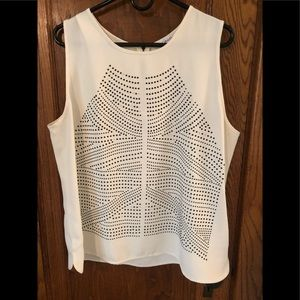 Contemporary stud detail woven sleeveless blouse